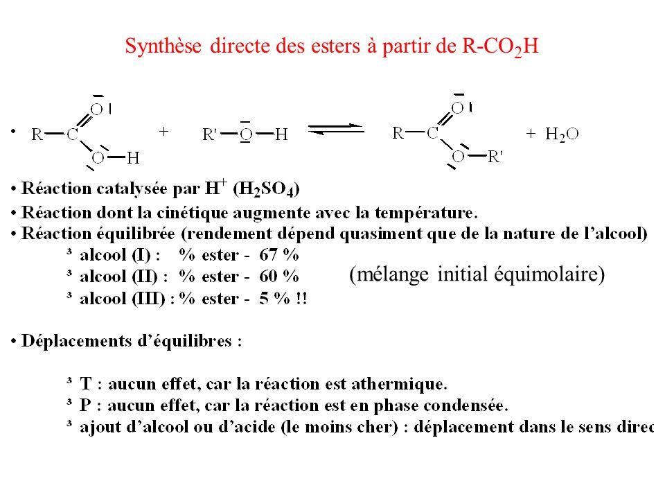 Synthèse directe des esters à partir de R-CO 2 H (mélange initial équimolaire)