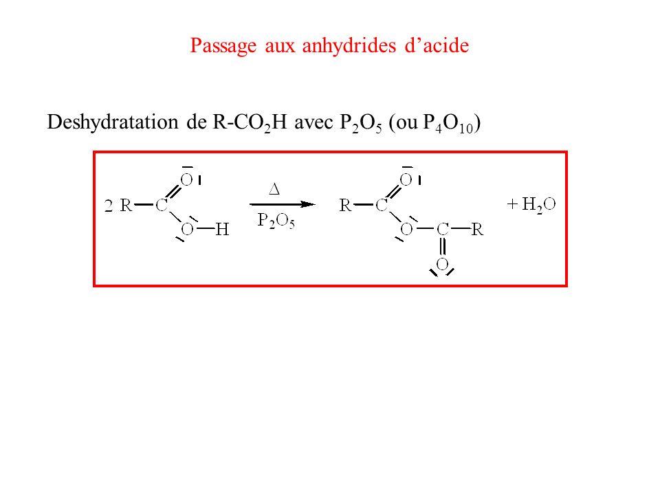 Deshydratation de R-CO 2 H avec P 2 O 5 (ou P 4 O 10 ) Passage aux anhydrides dacide