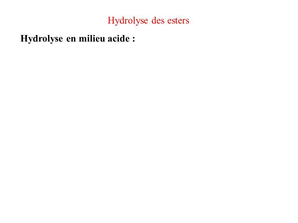 Hydrolyse des esters Hydrolyse en milieu acide : Mécanisme inverse de celui de lestérification Réaction quasi-totale, si on met H 2 O en excès