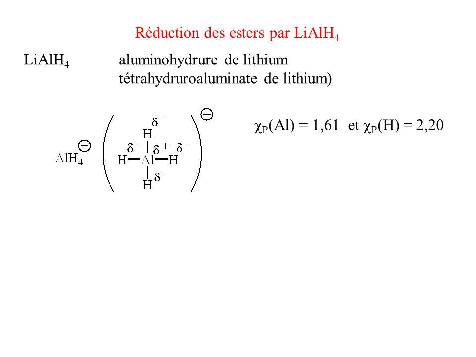 Réduction des esters par LiAlH 4 Mécanismes HP : faits en exercice Il faut 1/2 équivalent de LiAlH 4 pour un équivalent dester LiAlH 4 aluminohydrure