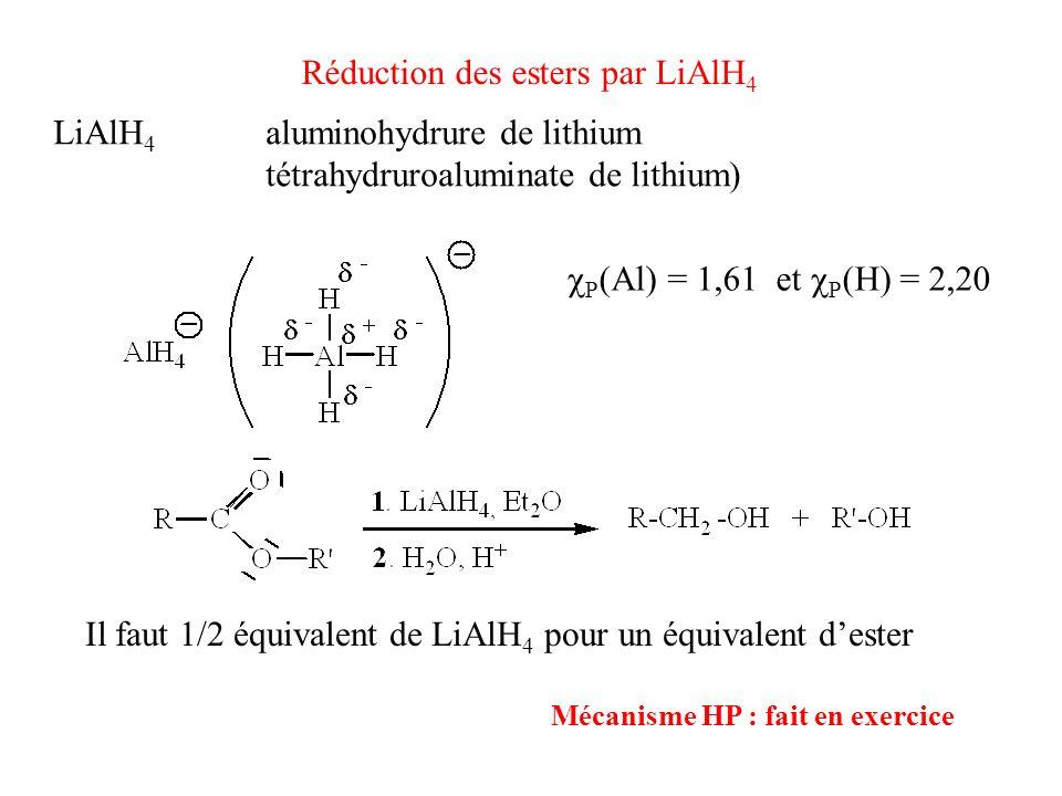 Réduction des esters par LiAlH 4 Mécanisme HP : fait en exercice Il faut 1/2 équivalent de LiAlH 4 pour un équivalent dester LiAlH 4 aluminohydrure de