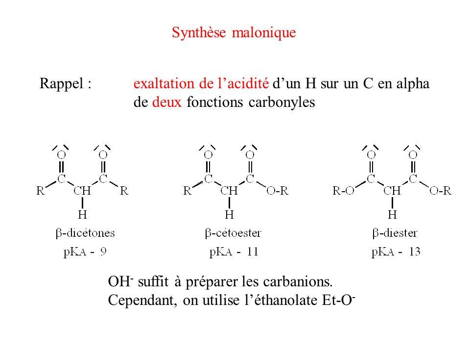 Synthèse malonique Rappel :exaltation de lacidité dun H sur un C en alpha de deux fonctions carbonyles OH - suffit à préparer les carbanions. Cependan
