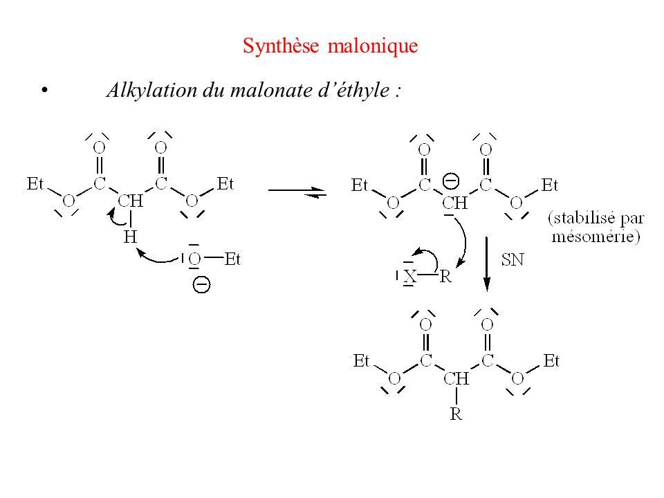 Synthèse malonique Alkylation du malonate déthyle :