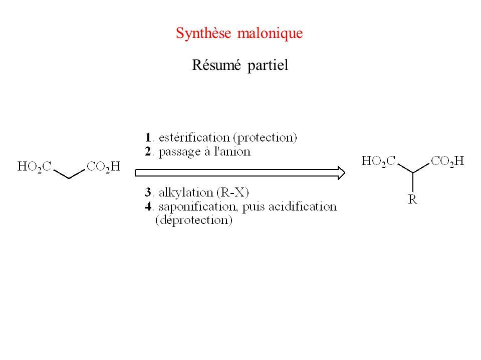 Synthèse malonique Résumé partiel