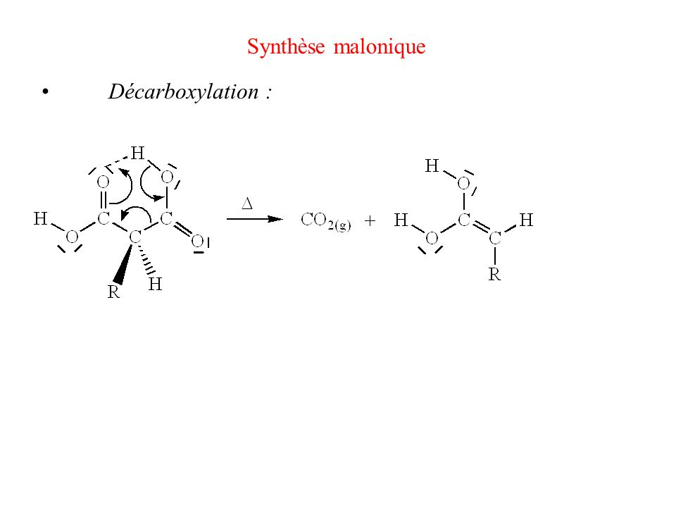 Synthèse malonique Décarboxylation :