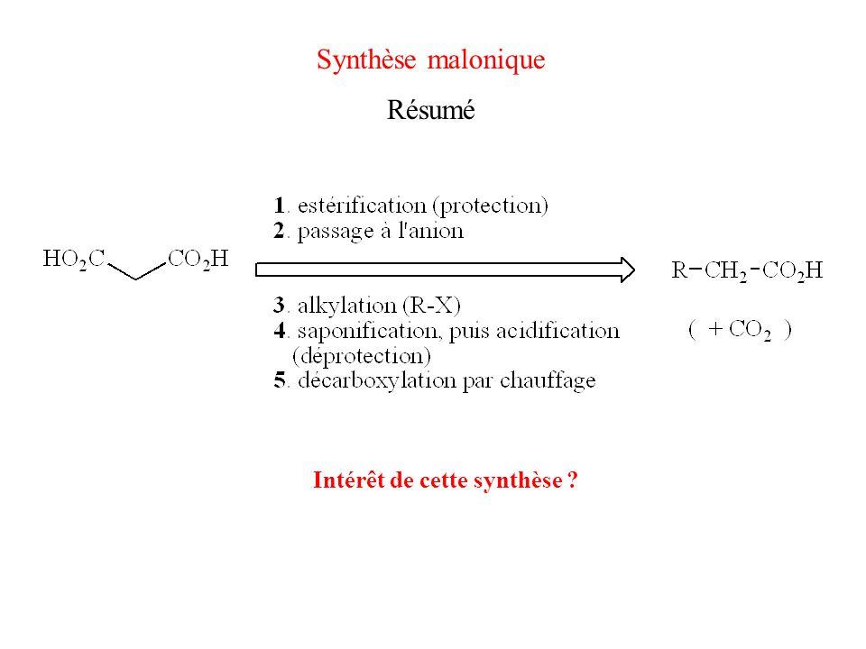Synthèse malonique Résumé Intérêt de cette synthèse ?