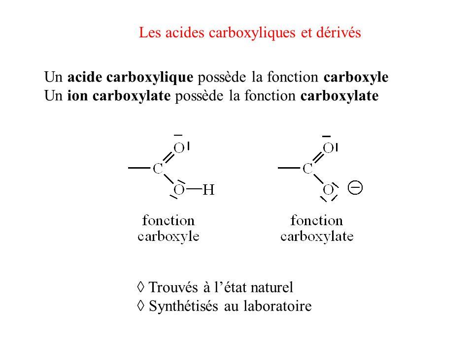 Les acides carboxyliques et dérivés Un acide carboxylique possède la fonction carboxyle Un ion carboxylate possède la fonction carboxylate Trouvés à l