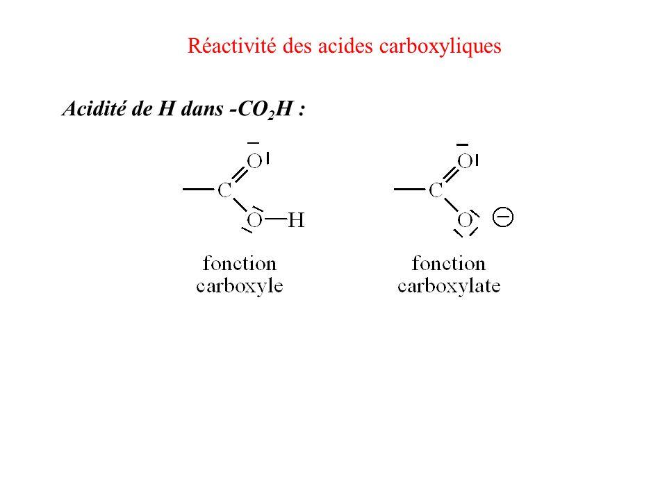 Réactivité des acides carboxyliques Acidité de H dans -CO 2 H :