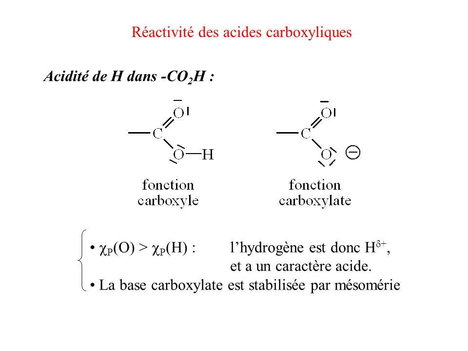 Réactivité des acides carboxyliques Acidité de H dans -CO 2 H : P (O) > P (H) :lhydrogène est donc H +, et a un caractère acide. La base carboxylate e
