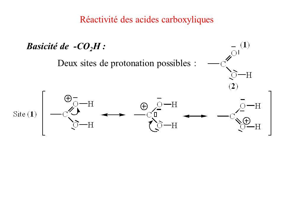Réactivité des acides carboxyliques Basicité de -CO 2 H : Deux sites de protonation possibles :