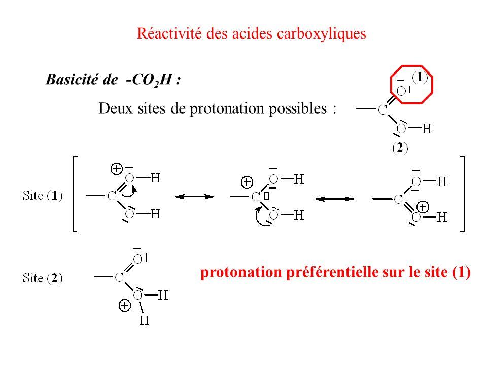 Réactivité des acides carboxyliques Basicité de -CO 2 H : Deux sites de protonation possibles : protonation préférentielle sur le site (1)