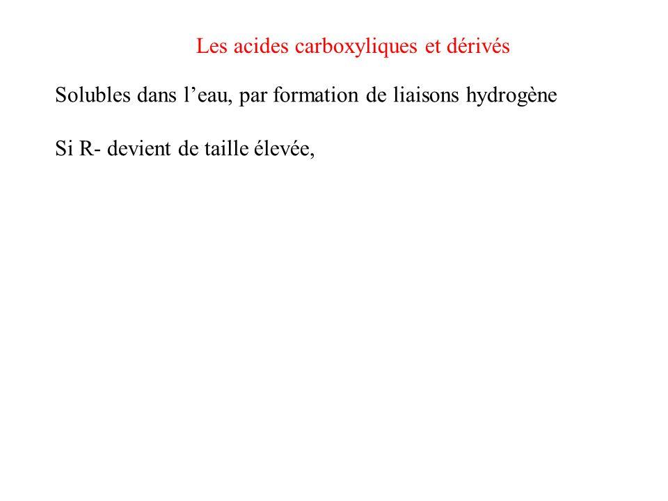 Les acides carboxyliques et dérivés Solubles dans leau, par formation de liaisons hydrogène Si R- devient de taille élevée, lacide nest plus soluble O