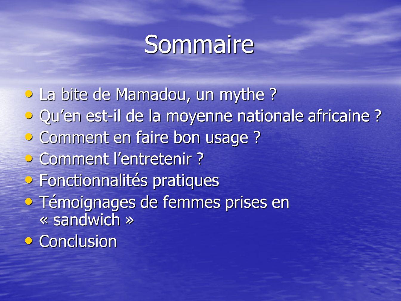 Sommaire La bite de Mamadou, un mythe ? Quen est-il de la moyenne nationale africaine ? Comment en faire bon usage ? Comment lentretenir ? Fonctionnal