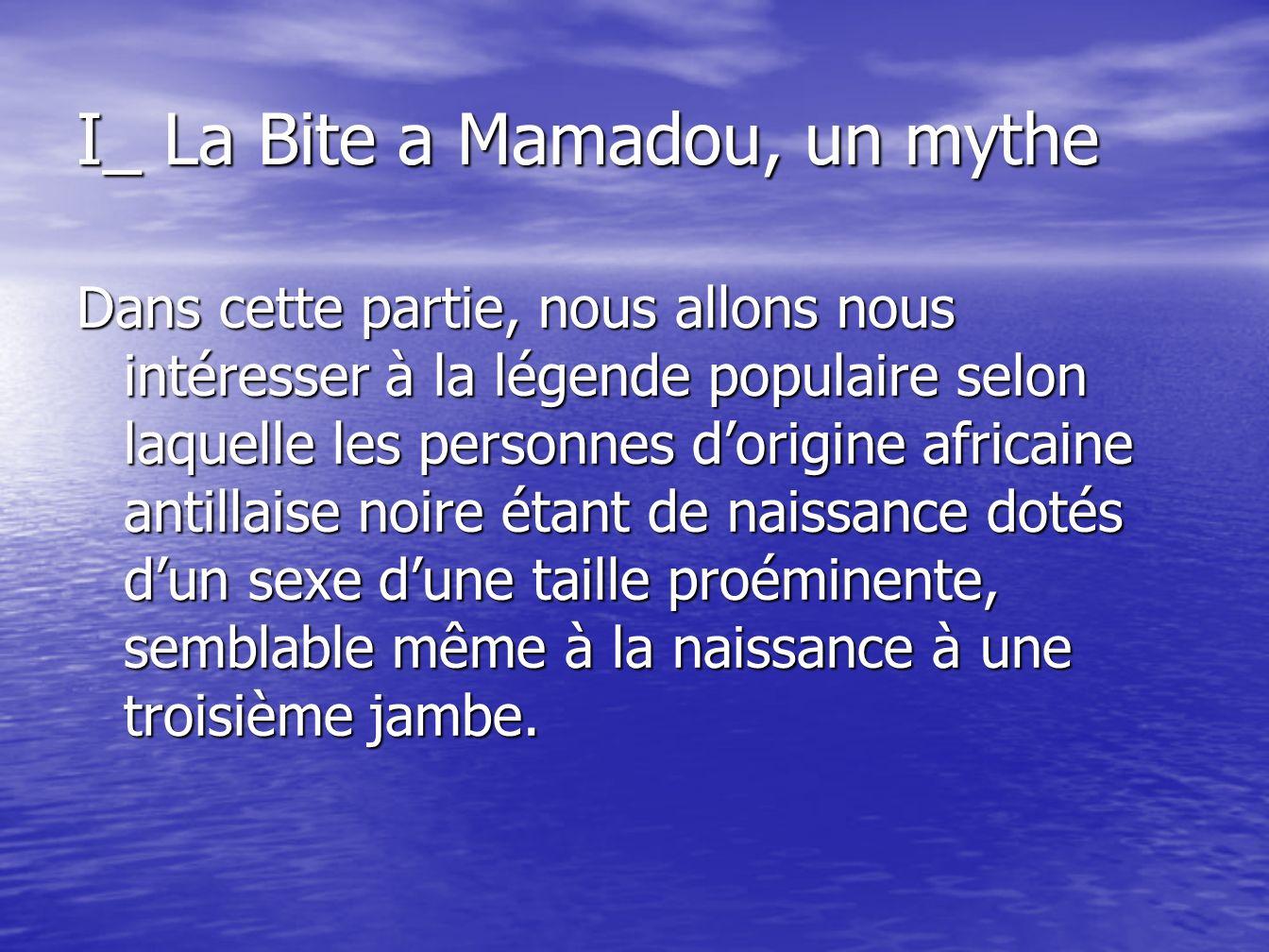 I_ La Bite a Mamadou, un mythe Dans cette partie, nous allons nous intéresser à la légende populaire selon laquelle les personnes dorigine africaine a