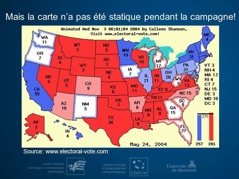 Mais la carte na pas été statique pendant la campagne! Source: www.electoral-vote.com