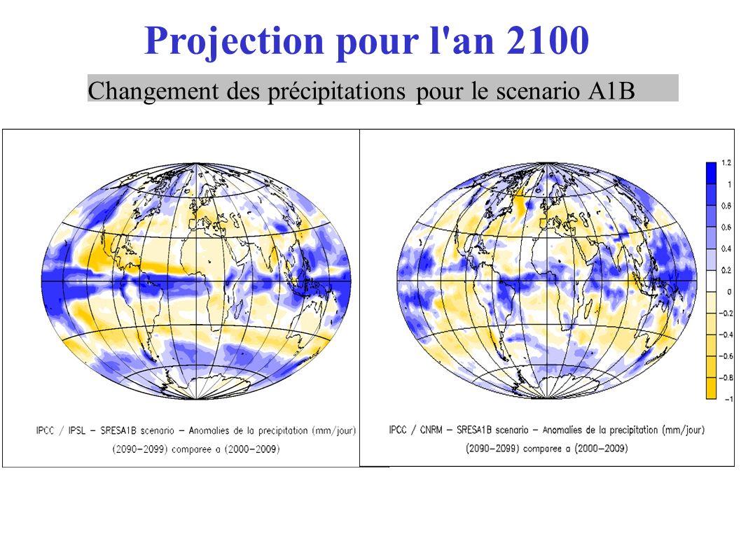 Projection pour l'an 2100 Changement des précipitations pour le scenario A1B