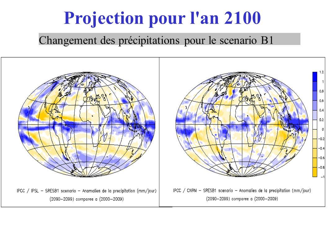 Projection pour l'an 2100 Changement des précipitations pour le scenario B1