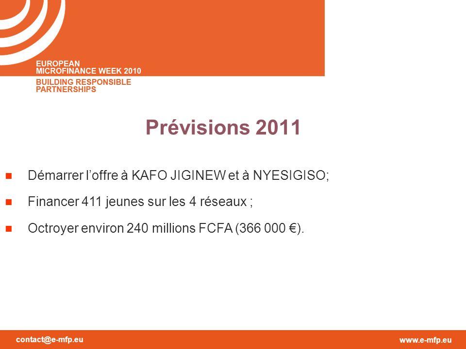 contact@e-mfp.eu www.e-mfp.eu Prévisions 2011 Démarrer loffre à KAFO JIGINEW et à NYESIGISO; Financer 411 jeunes sur les 4 réseaux ; Octroyer environ 240 millions FCFA (366 000 ).