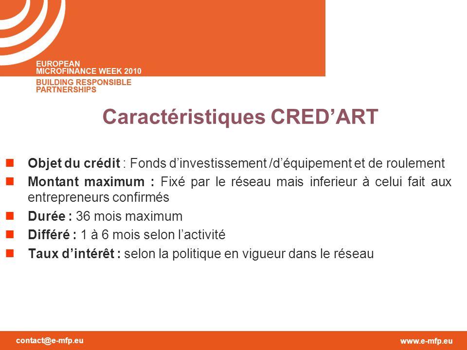 contact@e-mfp.eu www.e-mfp.eu Caractéristiques CREDART Objet du crédit : Fonds dinvestissement /déquipement et de roulement Montant maximum : Fixé par