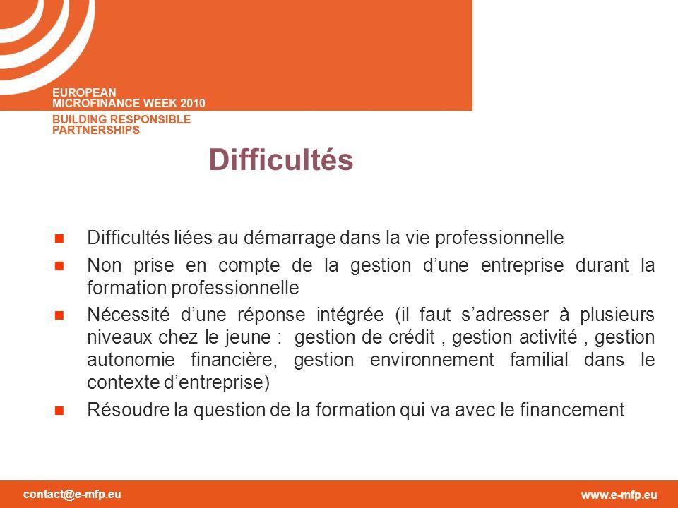 contact@e-mfp.eu www.e-mfp.eu Difficultés Difficultés liées au démarrage dans la vie professionnelle Non prise en compte de la gestion dune entreprise