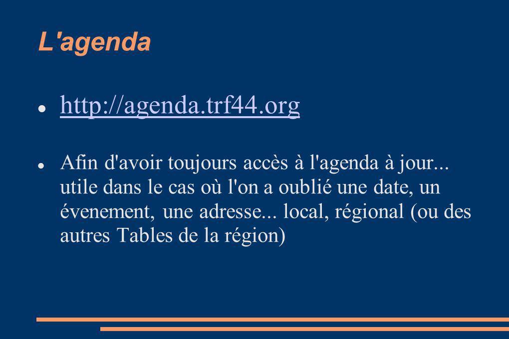 L agenda http://agenda.trf44.org Afin d avoir toujours accès à l agenda à jour...