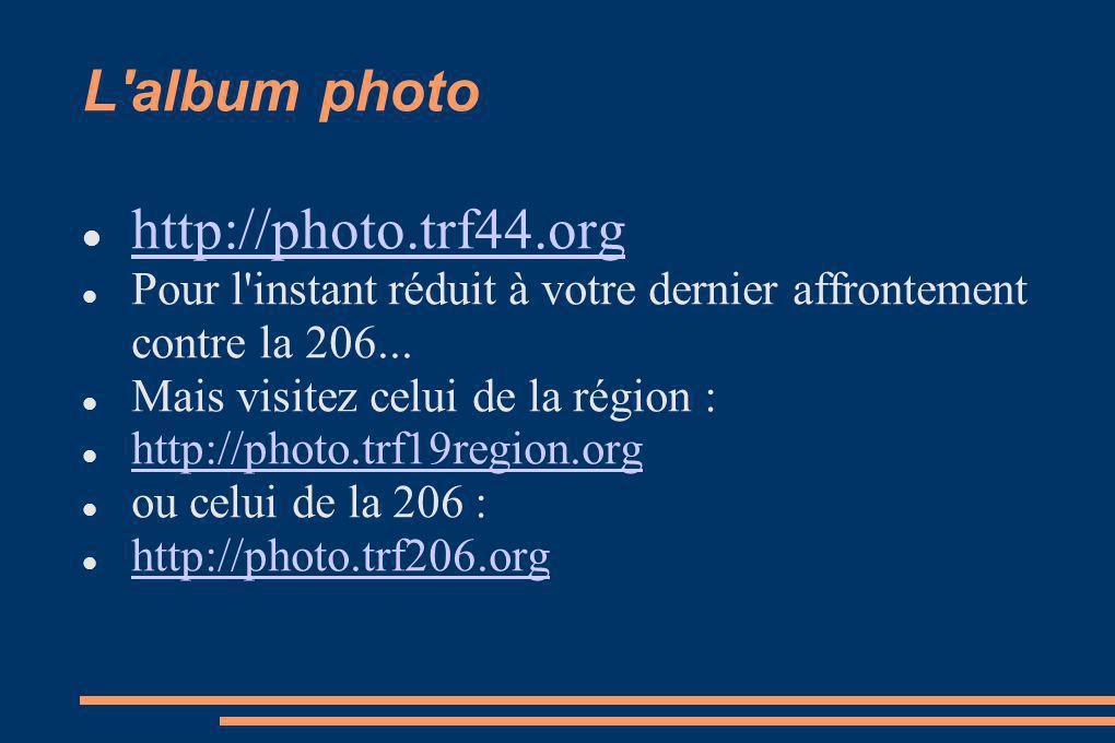L album photo http://photo.trf44.org Pour l instant réduit à votre dernier affrontement contre la 206...