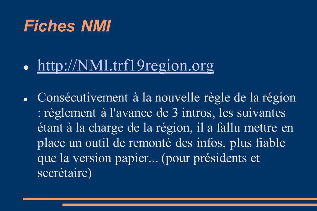 Fiches NMI http://NMI.trf19region.org Consécutivement à la nouvelle règle de la région : règlement à l avance de 3 intros, les suivantes étant à la charge de la région, il a fallu mettre en place un outil de remonté des infos, plus fiable que la version papier...