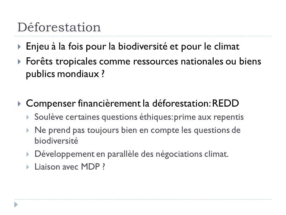Enjeu à la fois pour la biodiversité et pour le climat Forêts tropicales comme ressources nationales ou biens publics mondiaux ? Compenser financièrem