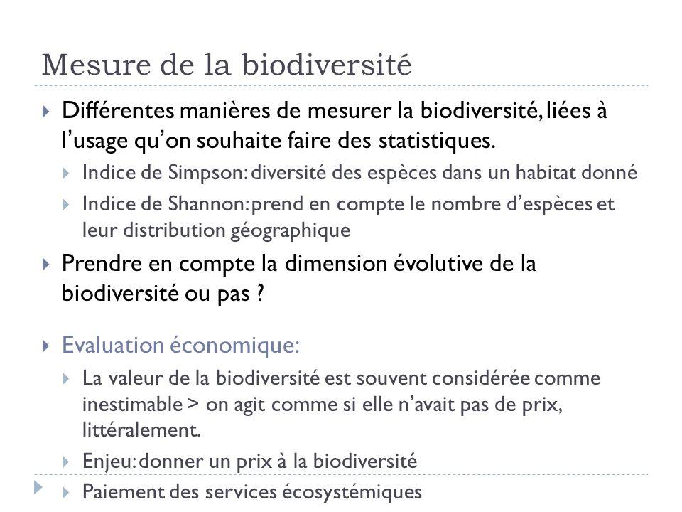 Mesure de la biodiversité Différentes manières de mesurer la biodiversité, liées à lusage quon souhaite faire des statistiques. Indice de Simpson: div
