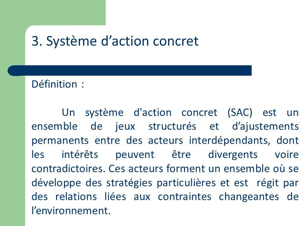 3. Système daction concret Définition : Un système d'action concret (SAC) est un ensemble de jeux structurés et dajustements permanents entre des acte
