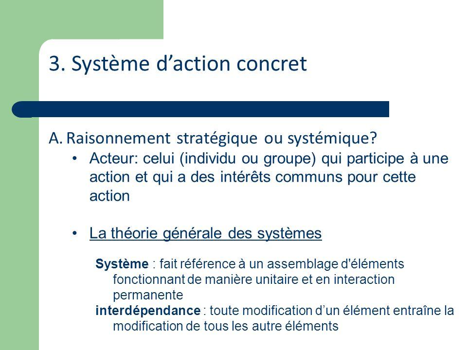 3. Système daction concret A.Raisonnement stratégique ou systémique? Acteur: celui (individu ou groupe) qui participe à une action et qui a des intérê