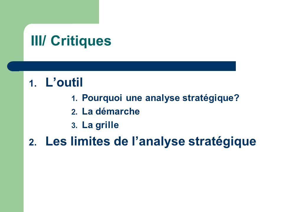 III/ Critiques 1. Loutil 1. Pourquoi une analyse stratégique? 2. La démarche 3. La grille 2. Les limites de lanalyse stratégique
