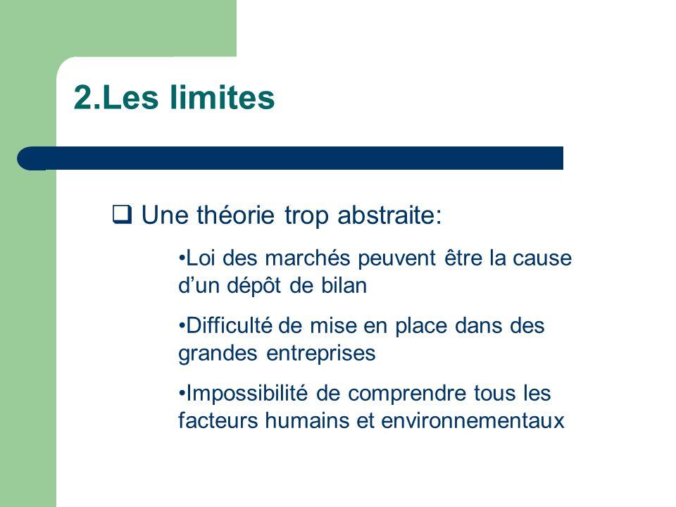 2.Les limites Une théorie trop abstraite: Loi des marchés peuvent être la cause dun dépôt de bilan Difficulté de mise en place dans des grandes entrep