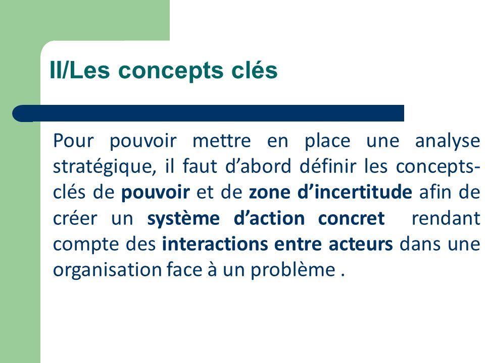 II/Les concepts clés Pour pouvoir mettre en place une analyse stratégique, il faut dabord définir les concepts- clés de pouvoir et de zone dincertitud