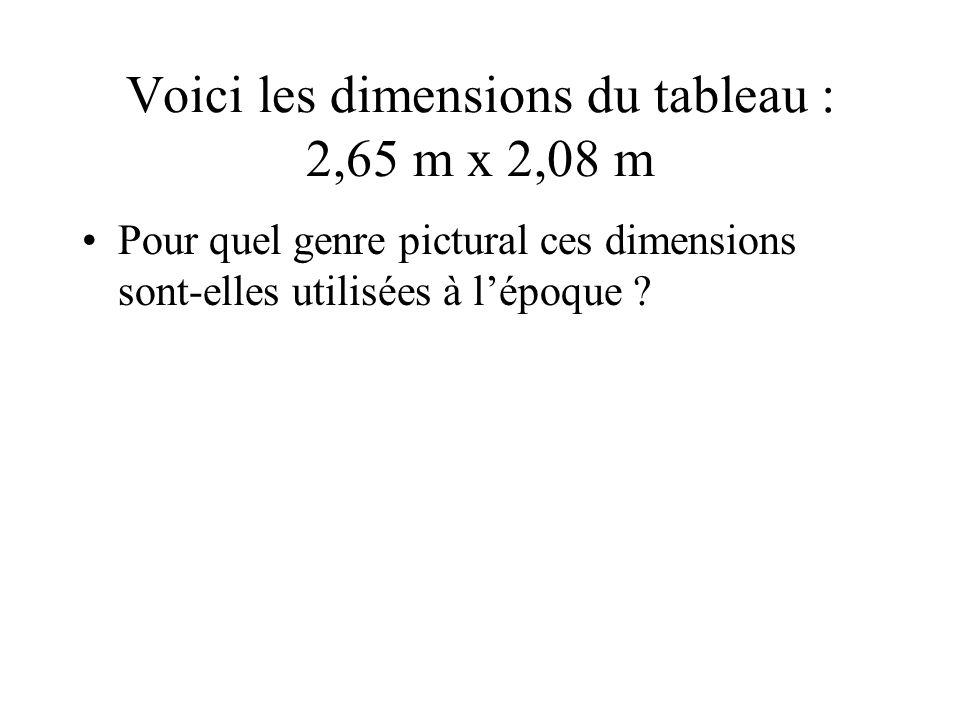 Voici les dimensions du tableau : 2,65 m x 2,08 m Pour quel genre pictural ces dimensions sont-elles utilisées à lépoque ?
