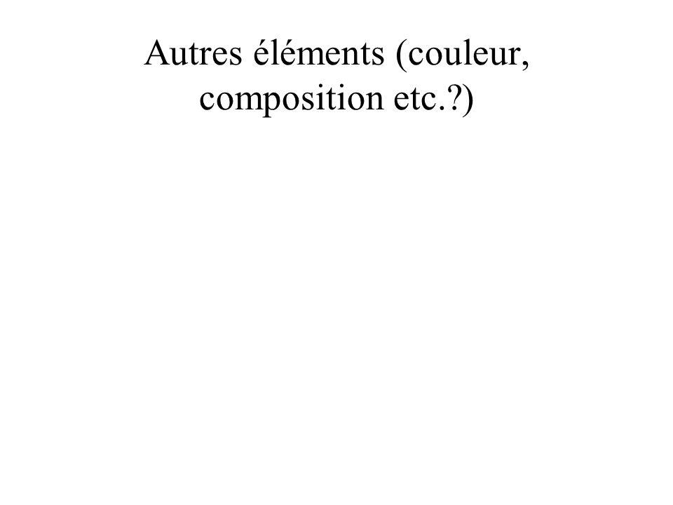 Autres éléments (couleur, composition etc.?)