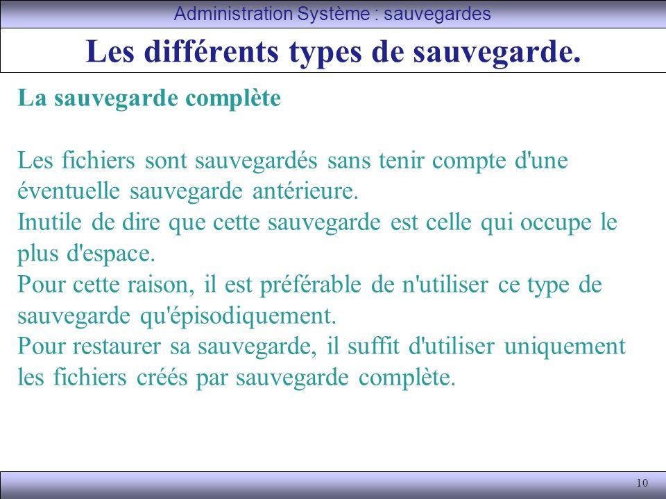 10 Les différents types de sauvegarde.