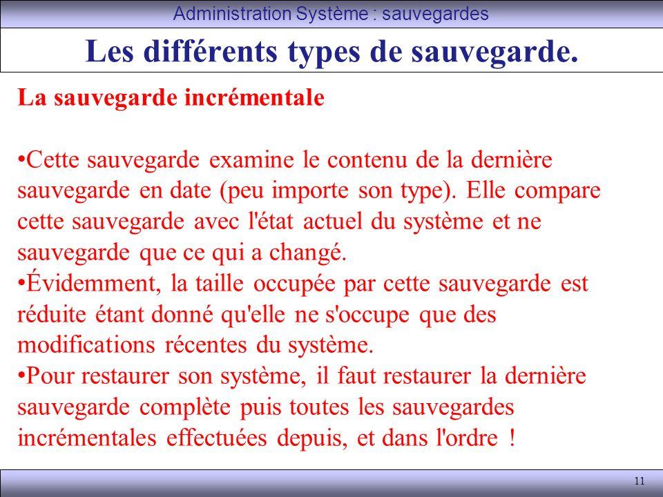 11 Les différents types de sauvegarde.