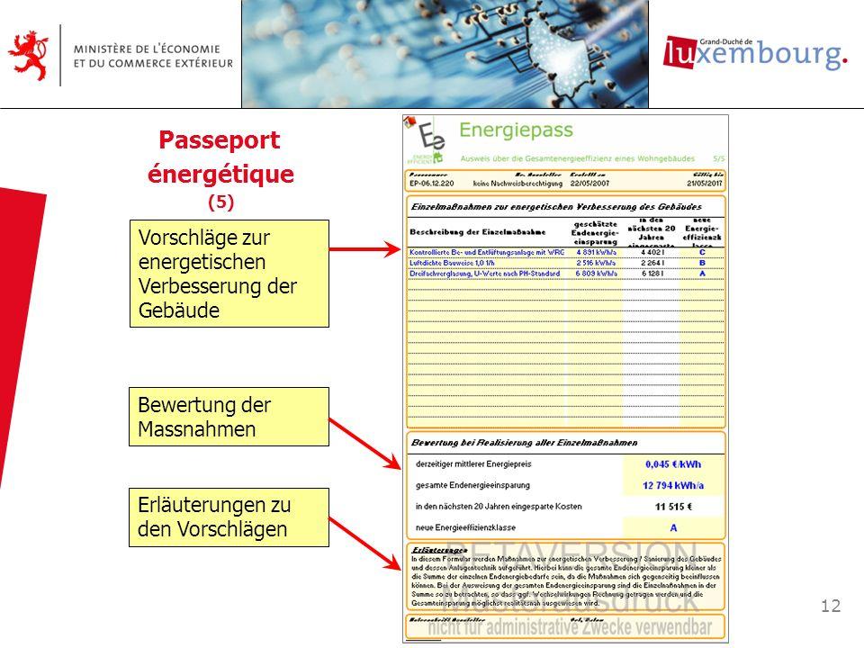 12 Vorschläge zur energetischen Verbesserung der Gebäude Bewertung der Massnahmen Erläuterungen zu den Vorschlägen Passeport énergétique (5)