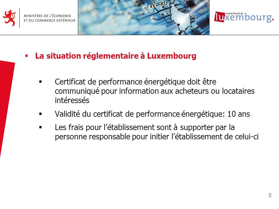 5 La situation réglementaire à Luxembourg Certificat de performance énergétique doit être communiqué pour information aux acheteurs ou locataires inté