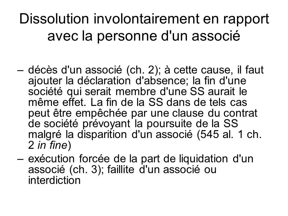 Dissolution involontairement en rapport avec la personne d un associé –décès d un associé (ch.