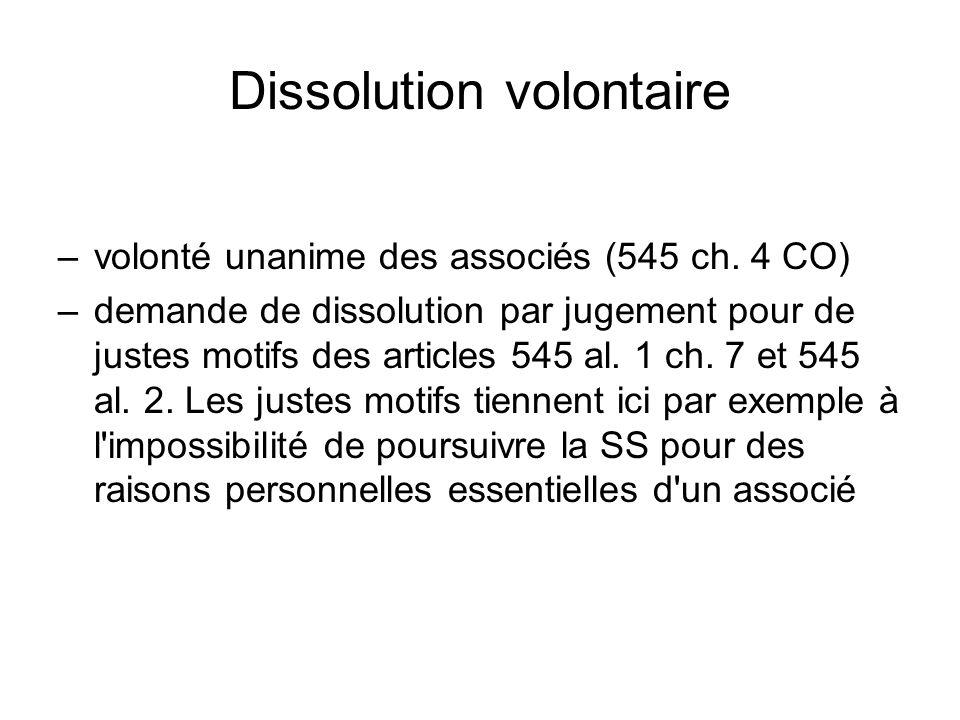 Dissolution volontaire –volonté unanime des associés (545 ch.