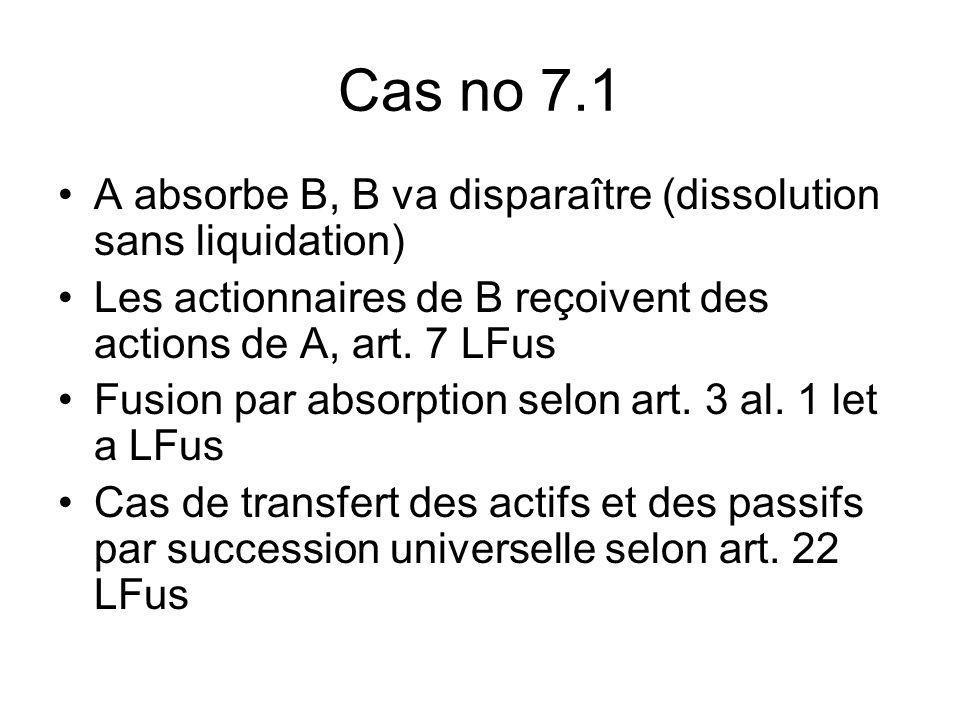 Cas no 7.1 A absorbe B, B va disparaître (dissolution sans liquidation) Les actionnaires de B reçoivent des actions de A, art.