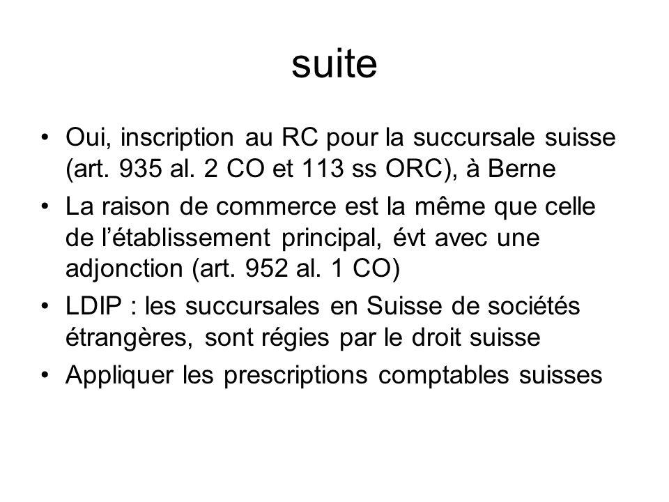 suite Oui, inscription au RC pour la succursale suisse (art.