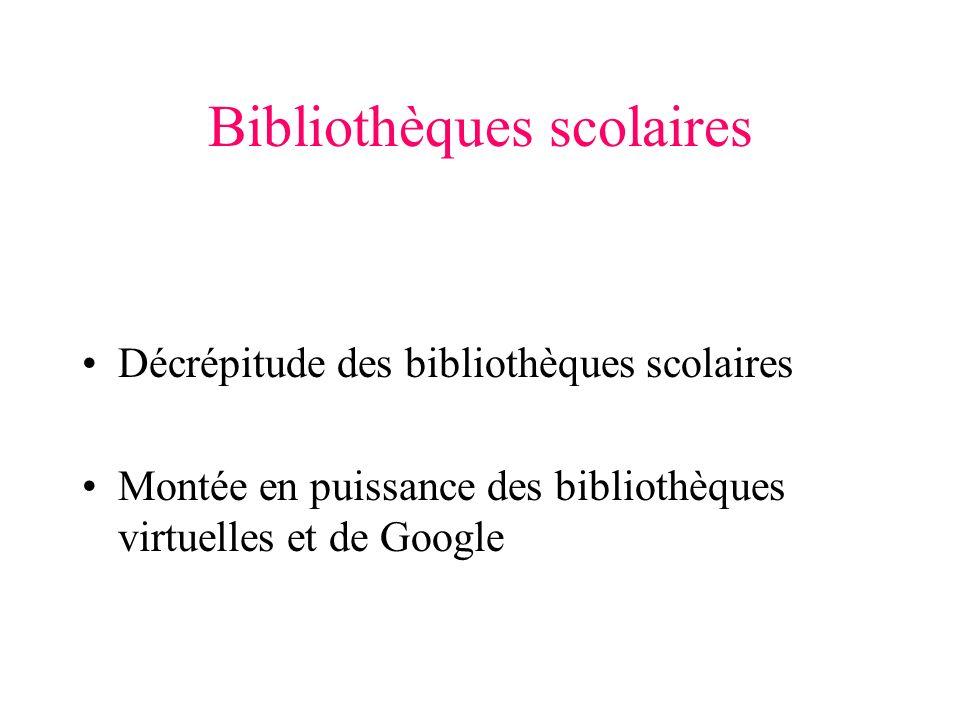 Bibliothèques scolaires Décrépitude des bibliothèques scolaires Montée en puissance des bibliothèques virtuelles et de Google