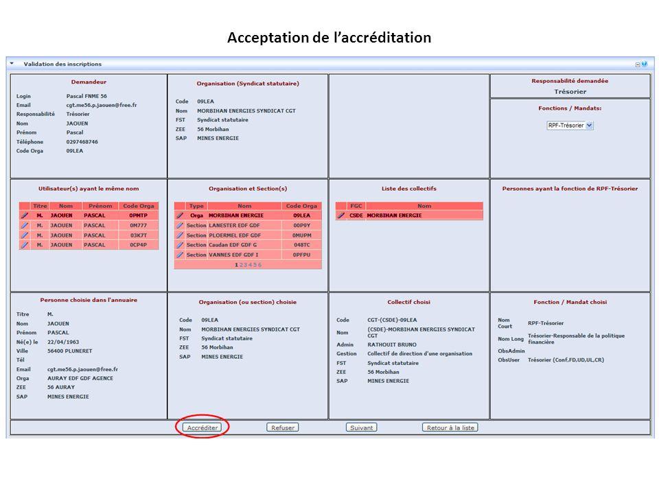 Acceptation de laccréditation