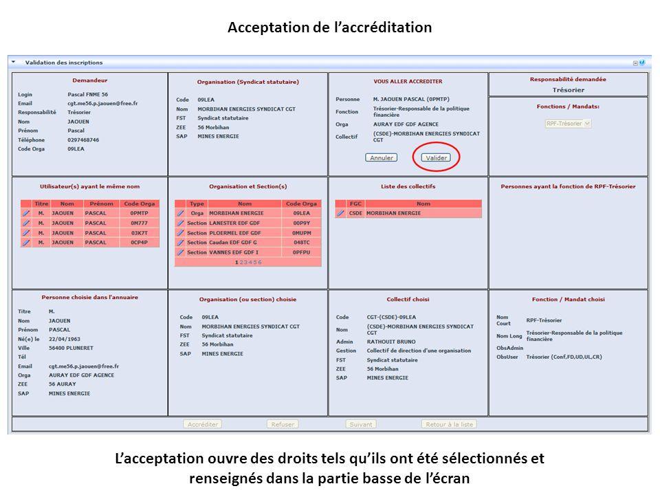 Lacceptation ouvre des droits tels quils ont été sélectionnés et renseignés dans la partie basse de lécran