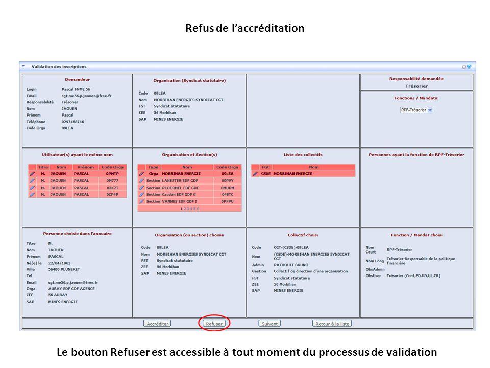Refus de laccréditation Le bouton Refuser est accessible à tout moment du processus de validation