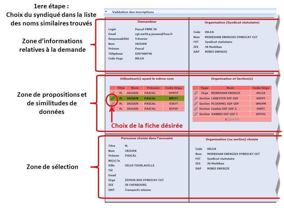 1ere étape : Choix du syndiqué dans la liste des noms similaires trouvés Zone dinformations relatives à la demande Zone de propositions et de similitudes de données Zone de sélection Choix de la fiche désirée