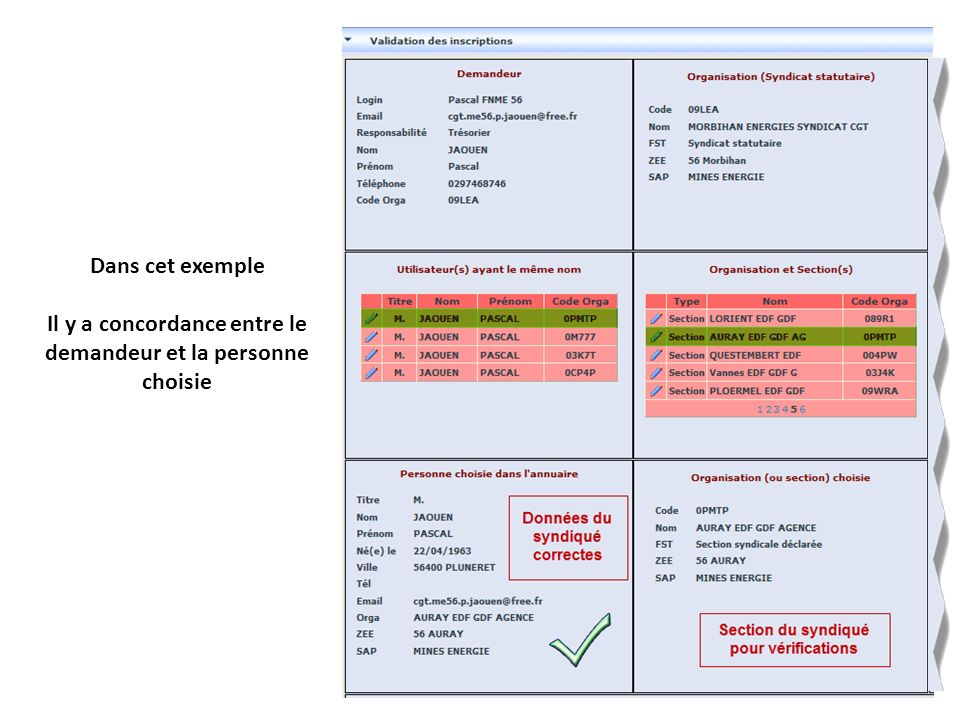 Dans cet exemple Il y a concordance entre le demandeur et la personne choisie